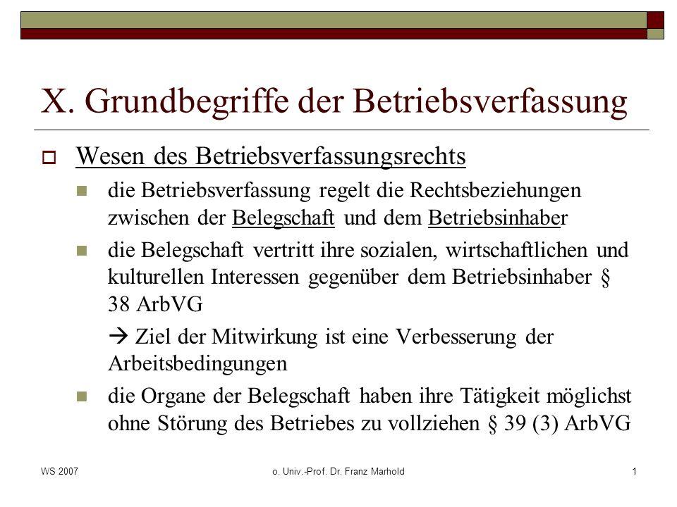 WS 2007o. Univ.-Prof. Dr. Franz Marhold1 X. Grundbegriffe der Betriebsverfassung Wesen des Betriebsverfassungsrechts die Betriebsverfassung regelt die