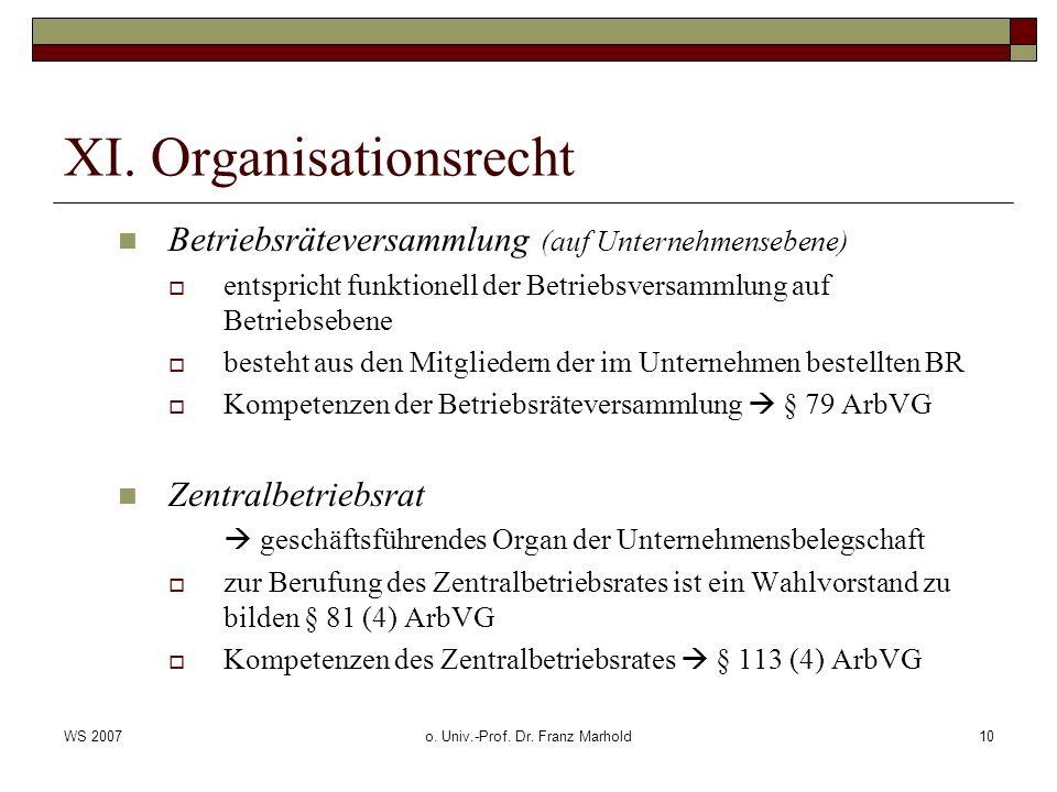 WS 2007o. Univ.-Prof. Dr. Franz Marhold10 XI. Organisationsrecht Betriebsräteversammlung (auf Unternehmensebene) entspricht funktionell der Betriebsve