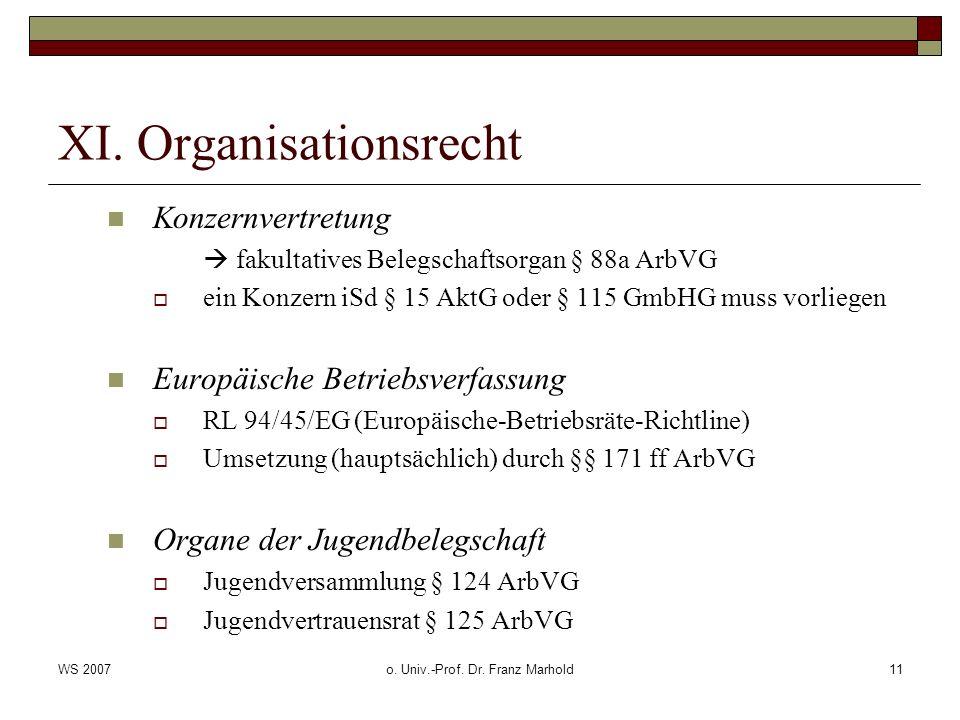 WS 2007o. Univ.-Prof. Dr. Franz Marhold11 XI. Organisationsrecht Konzernvertretung fakultatives Belegschaftsorgan § 88a ArbVG ein Konzern iSd § 15 Akt