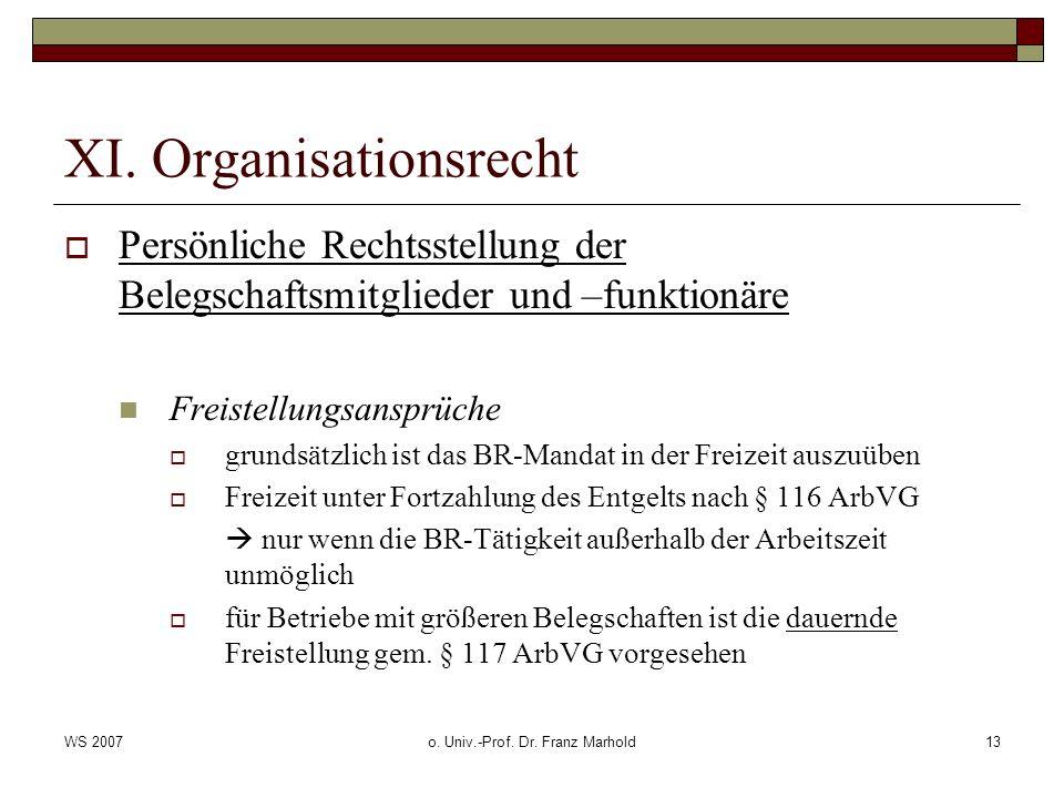 WS 2007o. Univ.-Prof. Dr. Franz Marhold13 XI. Organisationsrecht Persönliche Rechtsstellung der Belegschaftsmitglieder und –funktionäre Freistellungsa