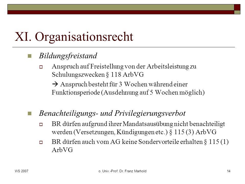 WS 2007o. Univ.-Prof. Dr. Franz Marhold14 XI. Organisationsrecht Bildungsfreistand Anspruch auf Freistellung von der Arbeitsleistung zu Schulungszweck