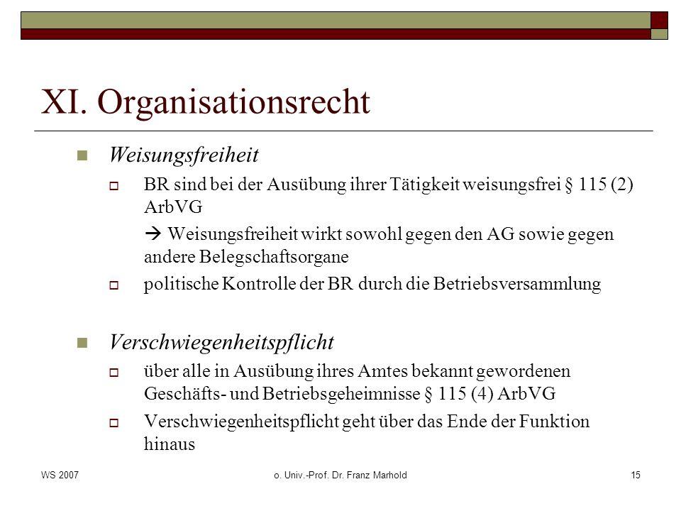 WS 2007o. Univ.-Prof. Dr. Franz Marhold15 XI. Organisationsrecht Weisungsfreiheit BR sind bei der Ausübung ihrer Tätigkeit weisungsfrei § 115 (2) ArbV
