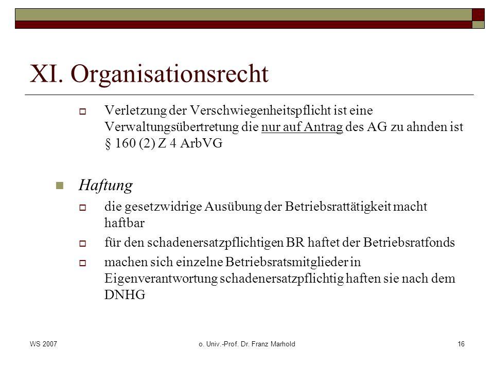 WS 2007o. Univ.-Prof. Dr. Franz Marhold16 XI. Organisationsrecht Verletzung der Verschwiegenheitspflicht ist eine Verwaltungsübertretung die nur auf A
