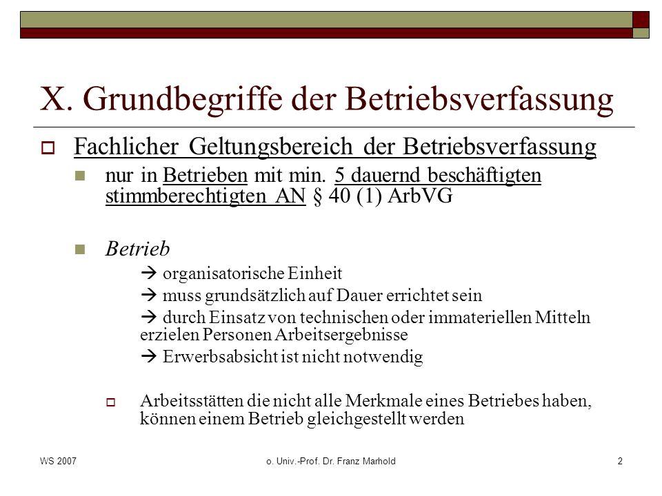 WS 2007o. Univ.-Prof. Dr. Franz Marhold2 X. Grundbegriffe der Betriebsverfassung Fachlicher Geltungsbereich der Betriebsverfassung nur in Betrieben mi