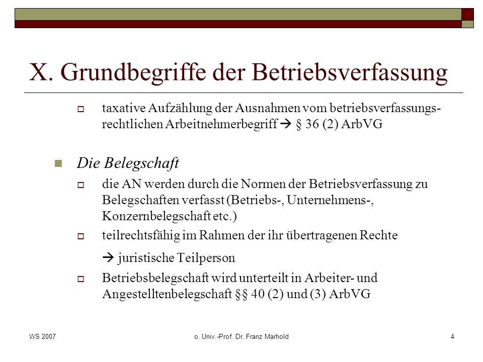 WS 2007o. Univ.-Prof. Dr. Franz Marhold4 X. Grundbegriffe der Betriebsverfassung taxative Aufzählung der Ausnahmen vom betriebsverfassungs- rechtliche