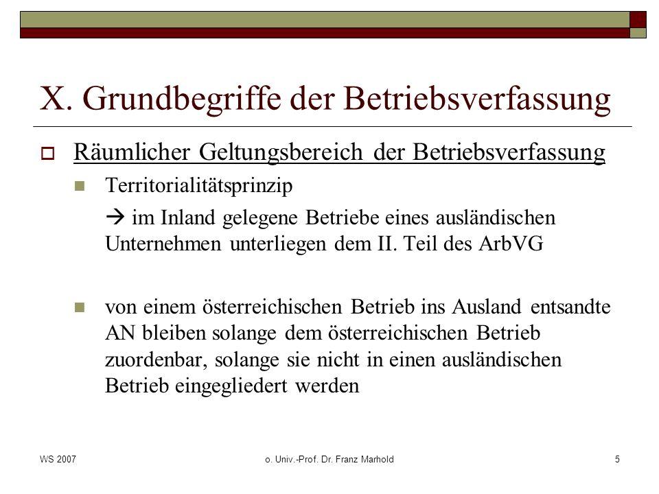 WS 2007o. Univ.-Prof. Dr. Franz Marhold5 X. Grundbegriffe der Betriebsverfassung Räumlicher Geltungsbereich der Betriebsverfassung Territorialitätspri