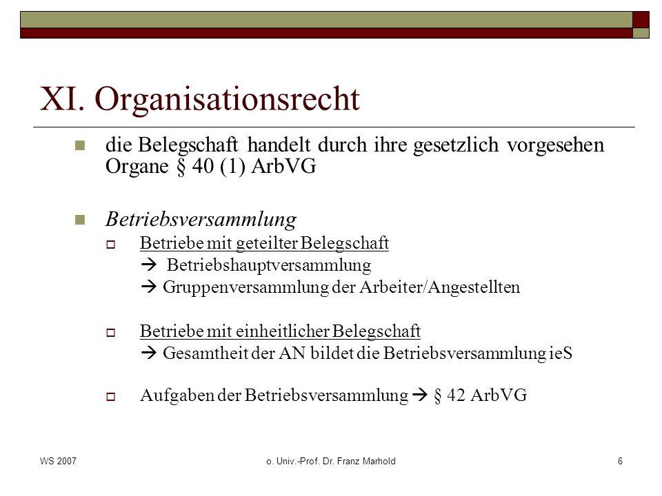 WS 2007o. Univ.-Prof. Dr. Franz Marhold6 XI. Organisationsrecht die Belegschaft handelt durch ihre gesetzlich vorgesehen Organe § 40 (1) ArbVG Betrieb