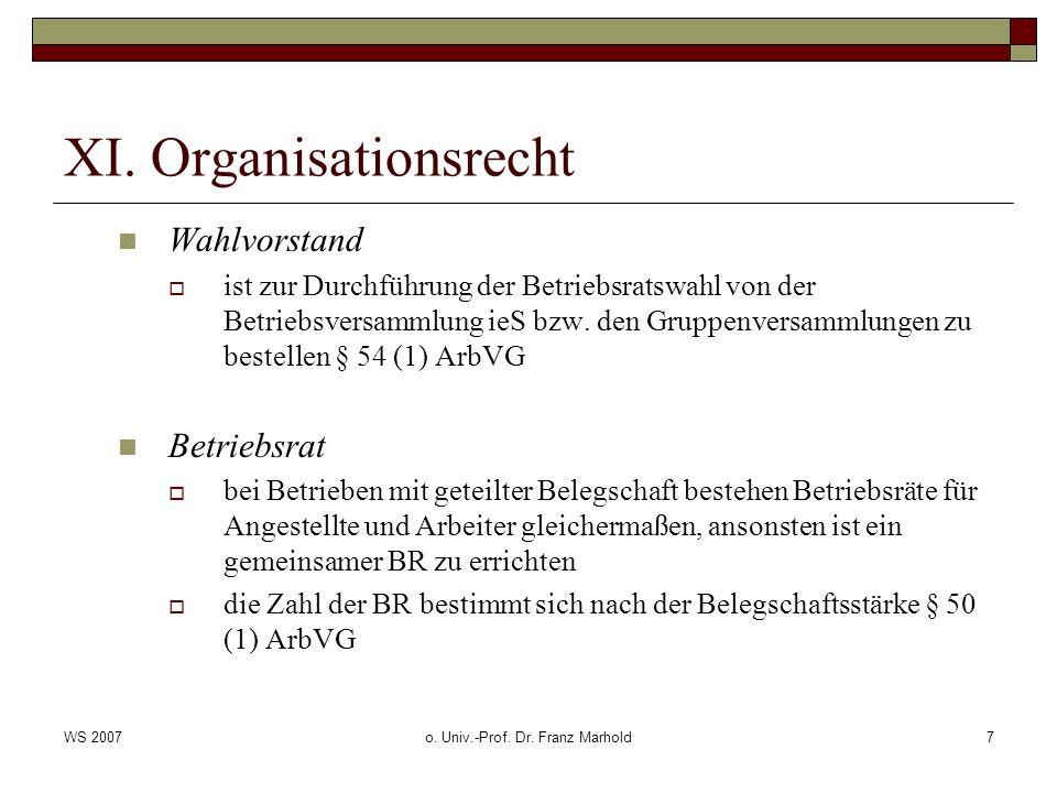 WS 2007o. Univ.-Prof. Dr. Franz Marhold7 XI. Organisationsrecht Wahlvorstand ist zur Durchführung der Betriebsratswahl von der Betriebsversammlung ieS
