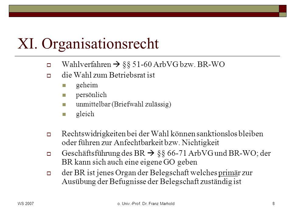 WS 2007o. Univ.-Prof. Dr. Franz Marhold8 XI. Organisationsrecht Wahlverfahren §§ 51-60 ArbVG bzw. BR-WO die Wahl zum Betriebsrat ist geheim persönlich