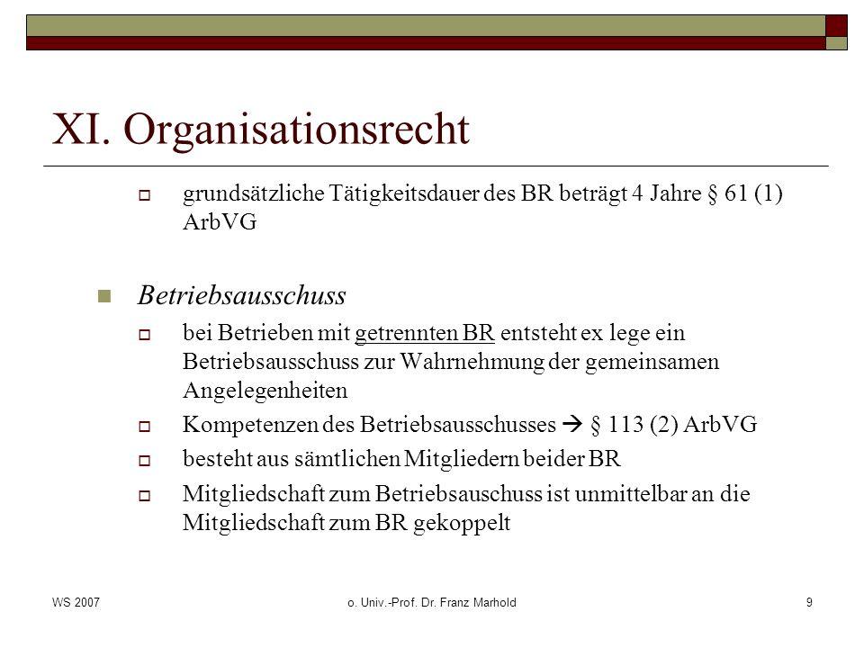 WS 2007o. Univ.-Prof. Dr. Franz Marhold9 XI. Organisationsrecht grundsätzliche Tätigkeitsdauer des BR beträgt 4 Jahre § 61 (1) ArbVG Betriebsausschuss