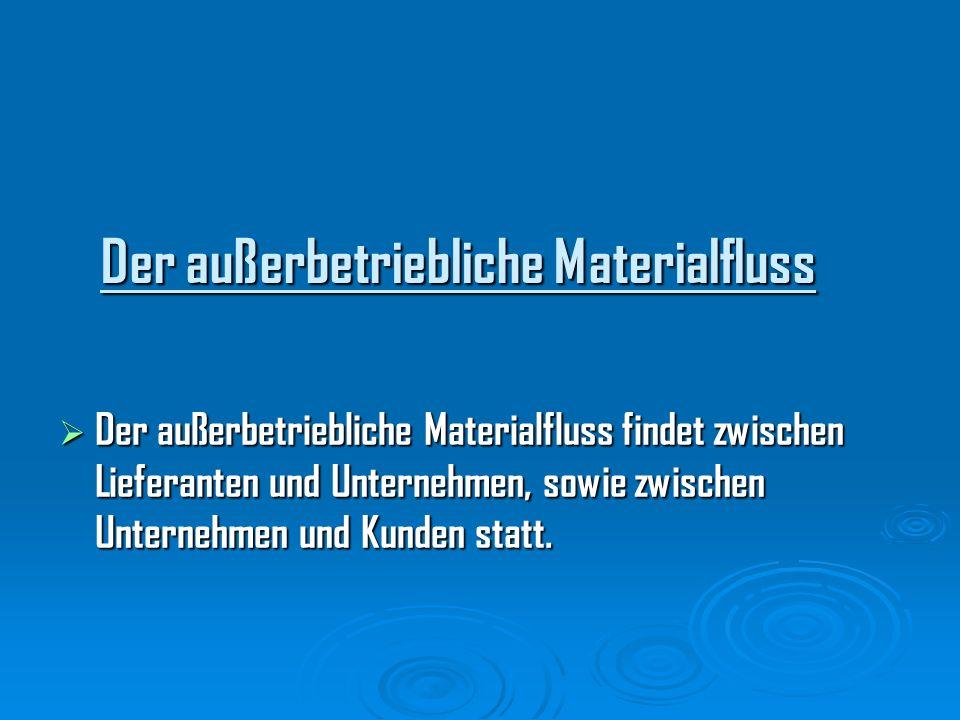 Der außerbetriebliche Materialfluss Der außerbetriebliche Materialfluss Der außerbetriebliche Materialfluss findet zwischen Lieferanten und Unternehme
