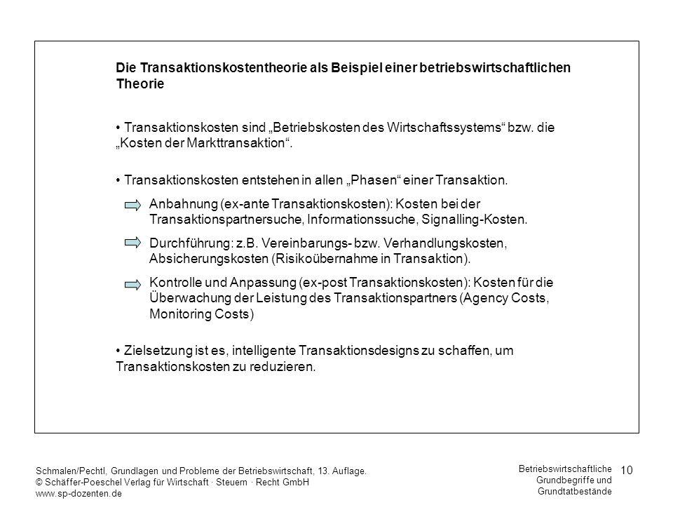 10 Schmalen/Pechtl, Grundlagen und Probleme der Betriebswirtschaft, 13. Auflage. © Schäffer-Poeschel Verlag für Wirtschaft Steuern Recht GmbH www.sp-d