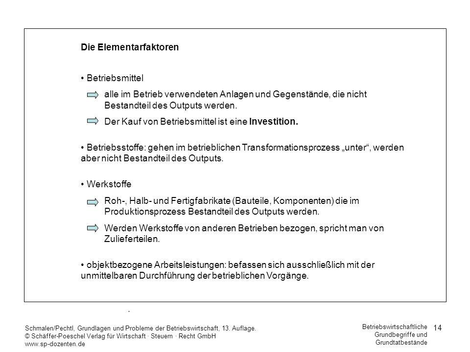 14 Schmalen/Pechtl, Grundlagen und Probleme der Betriebswirtschaft, 13. Auflage. © Schäffer-Poeschel Verlag für Wirtschaft Steuern Recht GmbH www.sp-d