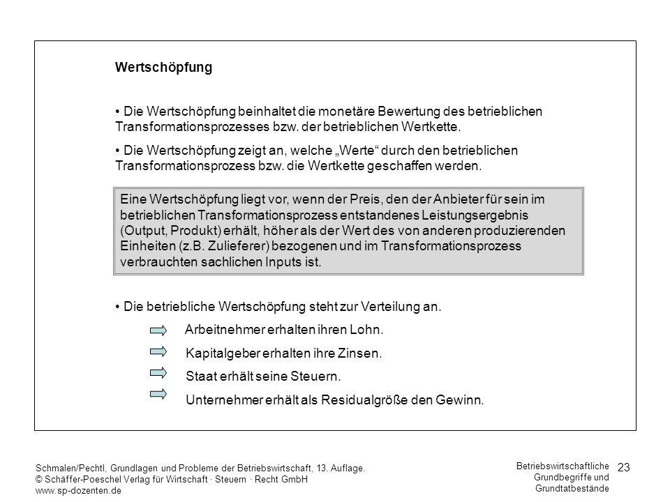 23 Schmalen/Pechtl, Grundlagen und Probleme der Betriebswirtschaft, 13. Auflage. © Schäffer-Poeschel Verlag für Wirtschaft Steuern Recht GmbH www.sp-d