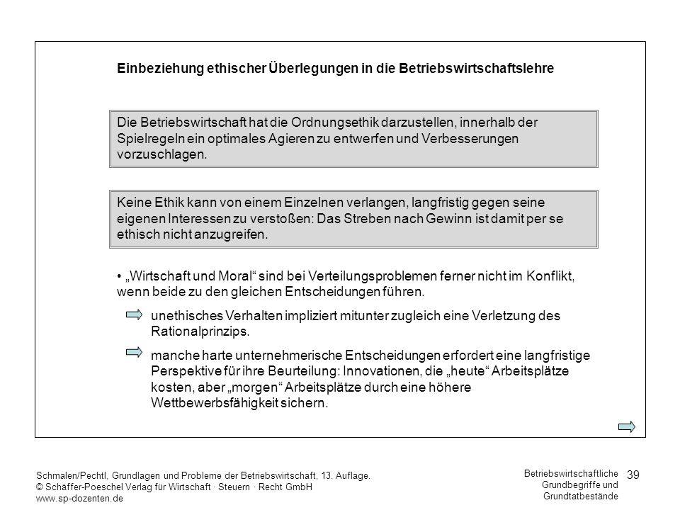 39 Schmalen/Pechtl, Grundlagen und Probleme der Betriebswirtschaft, 13. Auflage. © Schäffer-Poeschel Verlag für Wirtschaft Steuern Recht GmbH www.sp-d