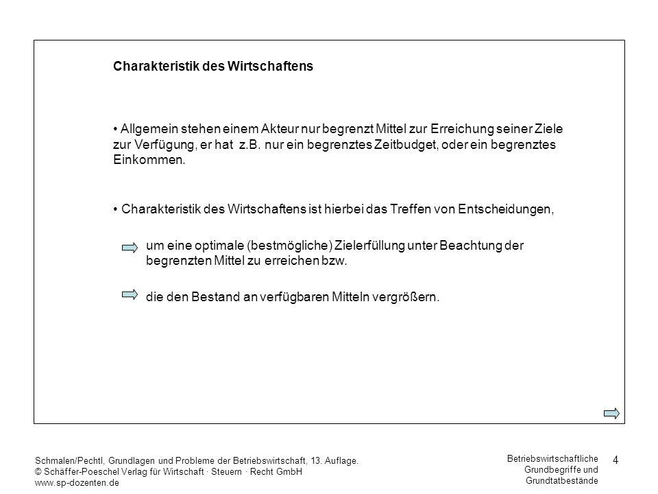 4 Schmalen/Pechtl, Grundlagen und Probleme der Betriebswirtschaft, 13. Auflage. © Schäffer-Poeschel Verlag für Wirtschaft Steuern Recht GmbH www.sp-do