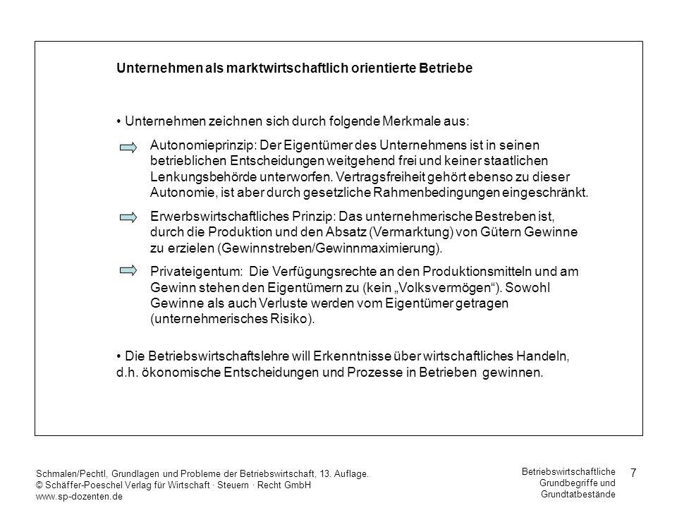 7 Schmalen/Pechtl, Grundlagen und Probleme der Betriebswirtschaft, 13. Auflage. © Schäffer-Poeschel Verlag für Wirtschaft Steuern Recht GmbH www.sp-do