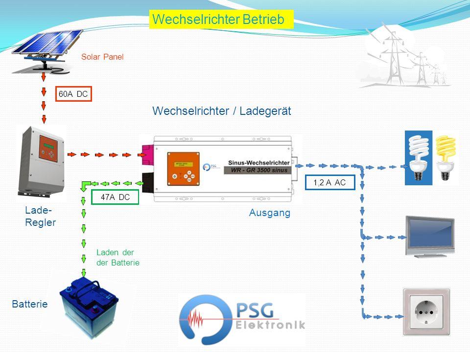 Wechselrichter / Ladegerät Batterie 60A DC 1,2 A AC Wechselrichter Betrieb 47A DC Lade- Regler Ausgang Laden der der Batterie Solar Panel