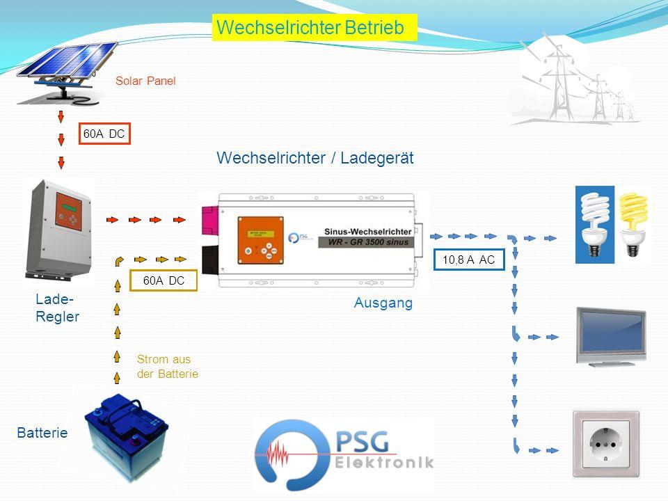 Wechselrichter / Ladegerät Batterie 60A DC 10,8 A AC Wechselrichter Betrieb 60A DC Lade- Regler Ausgang Strom aus der Batterie Solar Panel