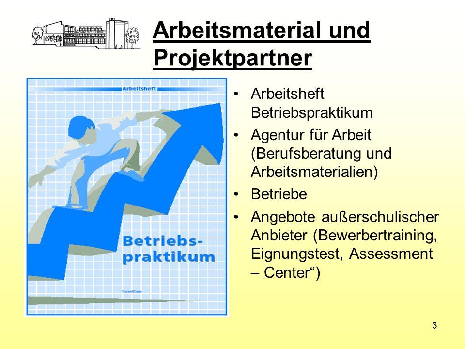 Arbeitsmaterial und Projektpartner Arbeitsheft Betriebspraktikum Agentur für Arbeit (Berufsberatung und Arbeitsmaterialien) Betriebe Angebote außersch