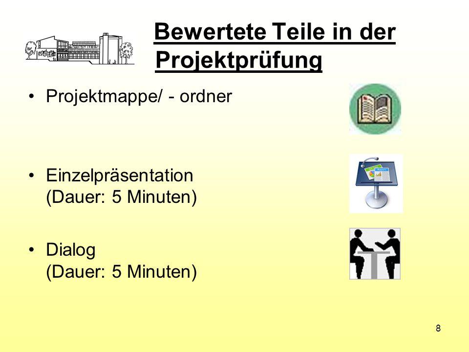 Bewertete Teile in der Projektprüfung Projektmappe/ - ordner Einzelpräsentation (Dauer: 5 Minuten) Dialog (Dauer: 5 Minuten) 8