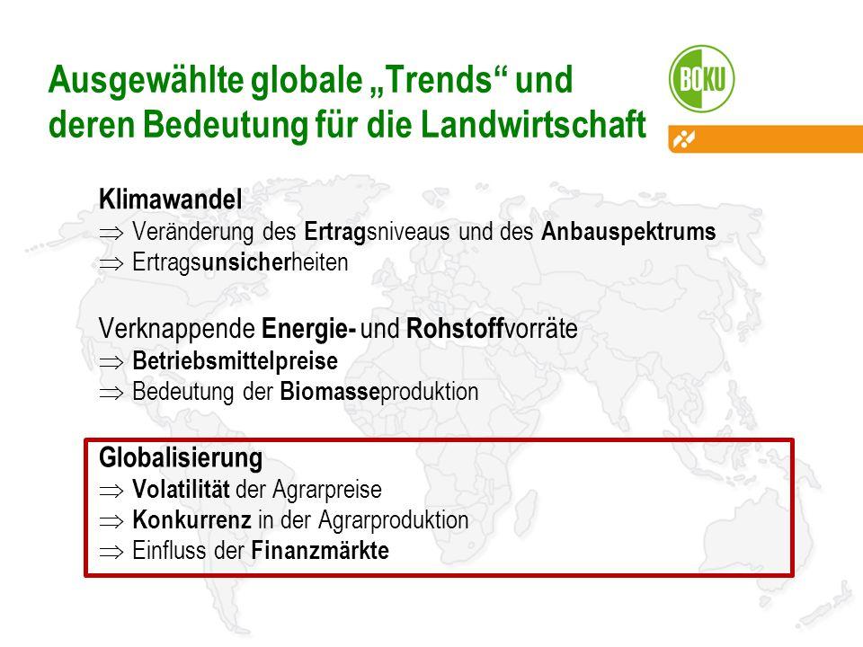Ausgewählte globale Trends und deren Bedeutung für die Landwirtschaft Klimawandel Veränderung des Ertrag sniveaus und des Anbauspektrums Ertrags unsic