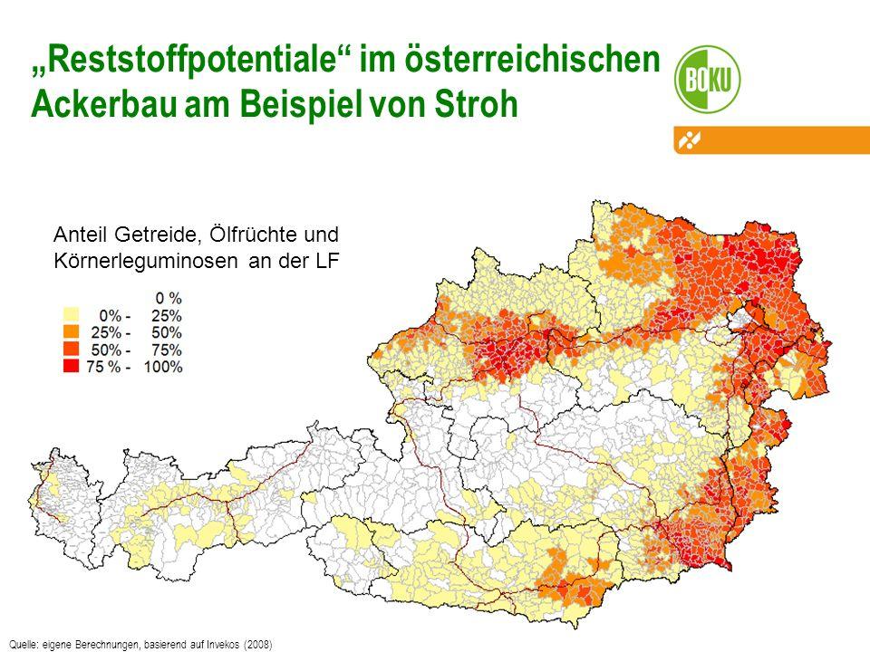 Quelle: eigene Berechnungen, basierend auf Invekos (2008) Reststoffpotentiale im österreichischen Ackerbau am Beispiel von Stroh Anteil Getreide, Ölfr