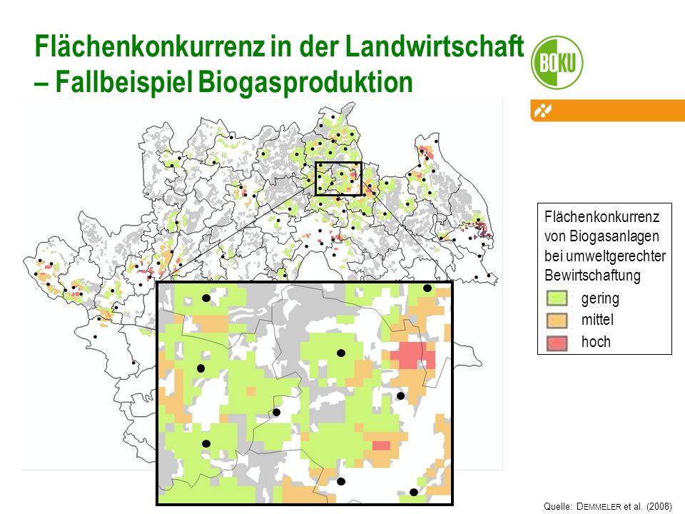 18 Flächenkonkurrenz in der Landwirtschaft – Fallbeispiel Biogasproduktion Quelle: D EMMELER et al. (2008) Flächenkonkurrenz von Biogasanlagen bei umw