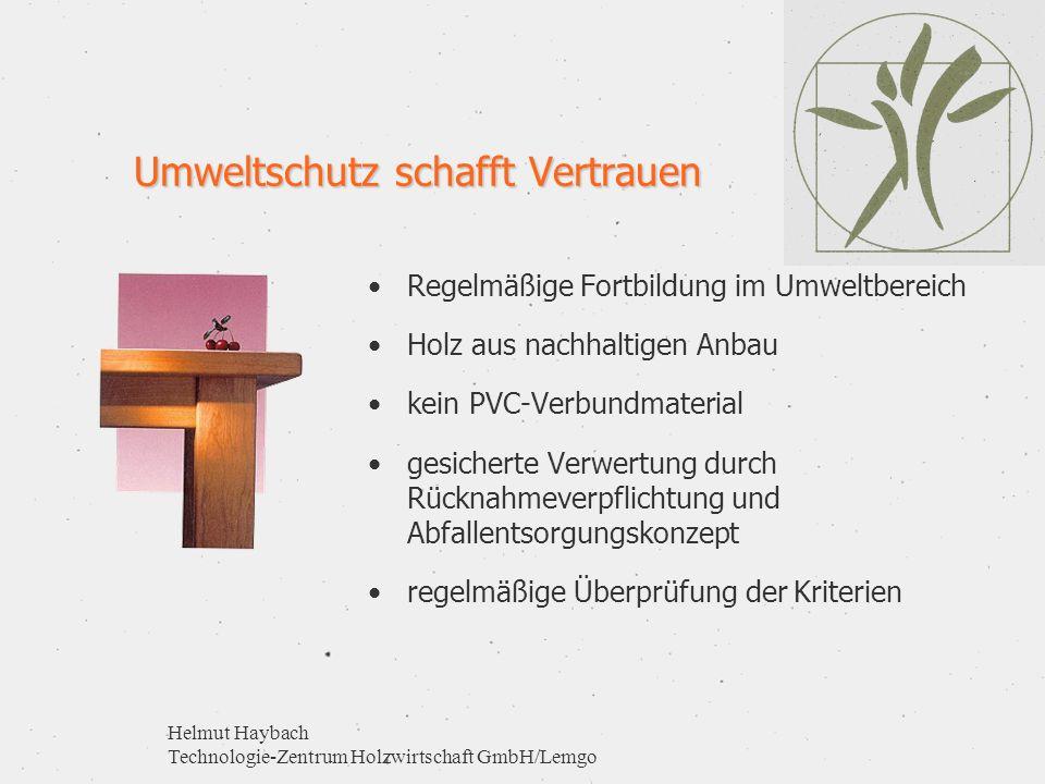 Helmut Haybach Technologie-Zentrum Holzwirtschaft GmbH/Lemgo Umweltschutz schafft Vertrauen Regelmäßige Fortbildung im Umweltbereich Holz aus nachhalt