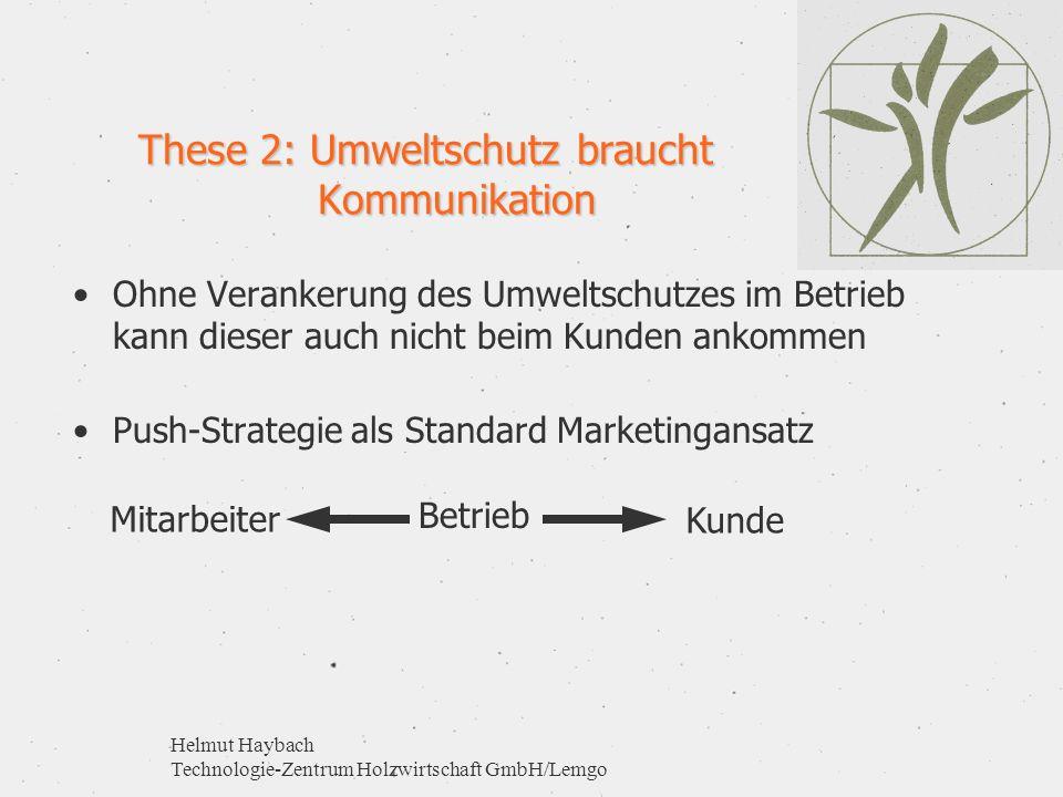 Helmut Haybach Technologie-Zentrum Holzwirtschaft GmbH/Lemgo These 2: Umweltschutz braucht Kommunikation Ohne Verankerung des Umweltschutzes im Betrie
