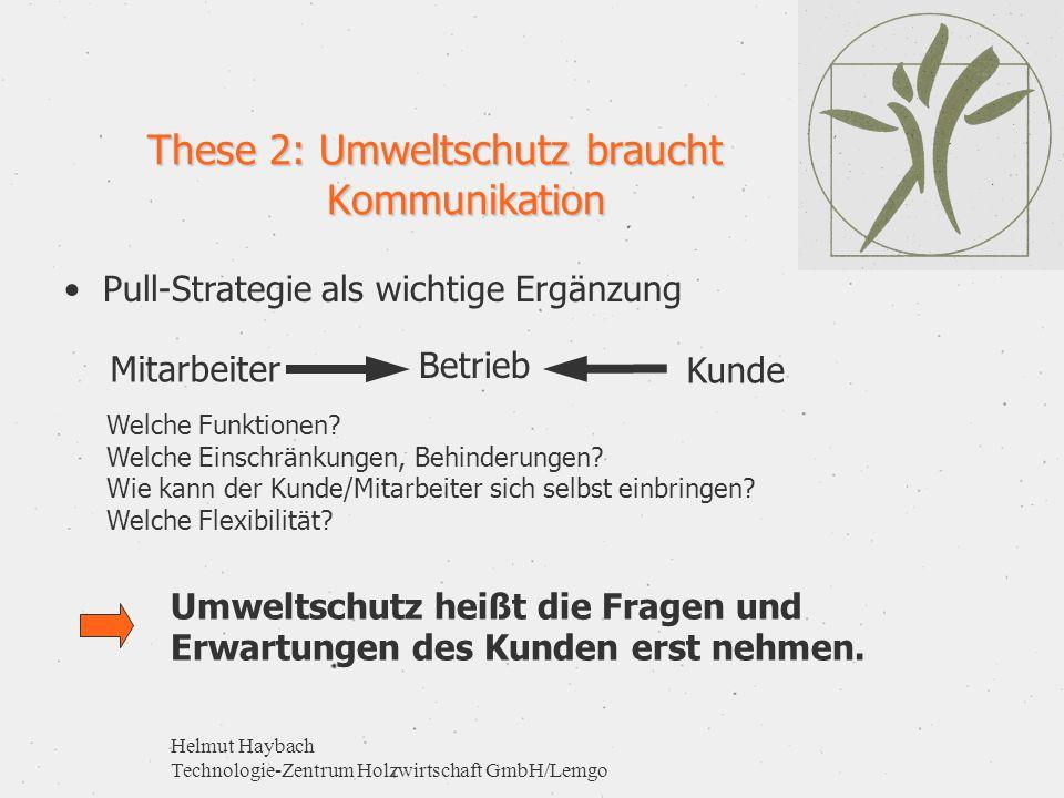 Helmut Haybach Technologie-Zentrum Holzwirtschaft GmbH/Lemgo These 2: Umweltschutz braucht Kommunikation Betrieb KundeMitarbeiter Pull-Strategie als w