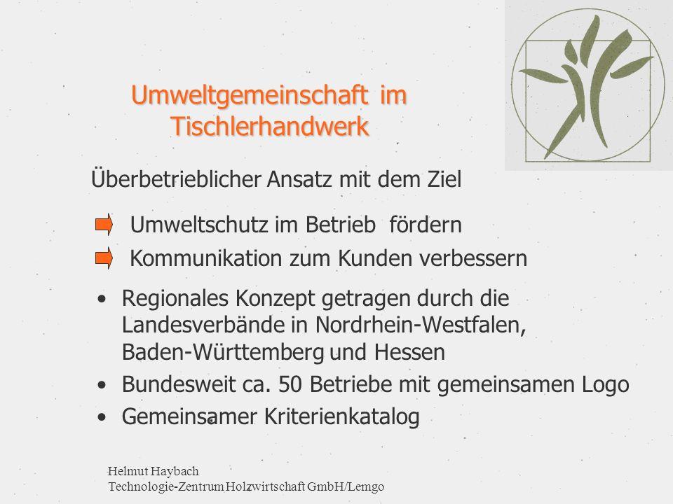 Helmut Haybach Technologie-Zentrum Holzwirtschaft GmbH/Lemgo Umweltgemeinschaft im Tischlerhandwerk Regionales Konzept getragen durch die Landesverbän