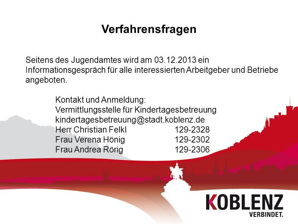 Verfahrensfragen Seitens des Jugendamtes wird am 03.12.2013 ein Informationsgespräch für alle interessierten Arbeitgeber und Betriebe angeboten. Konta