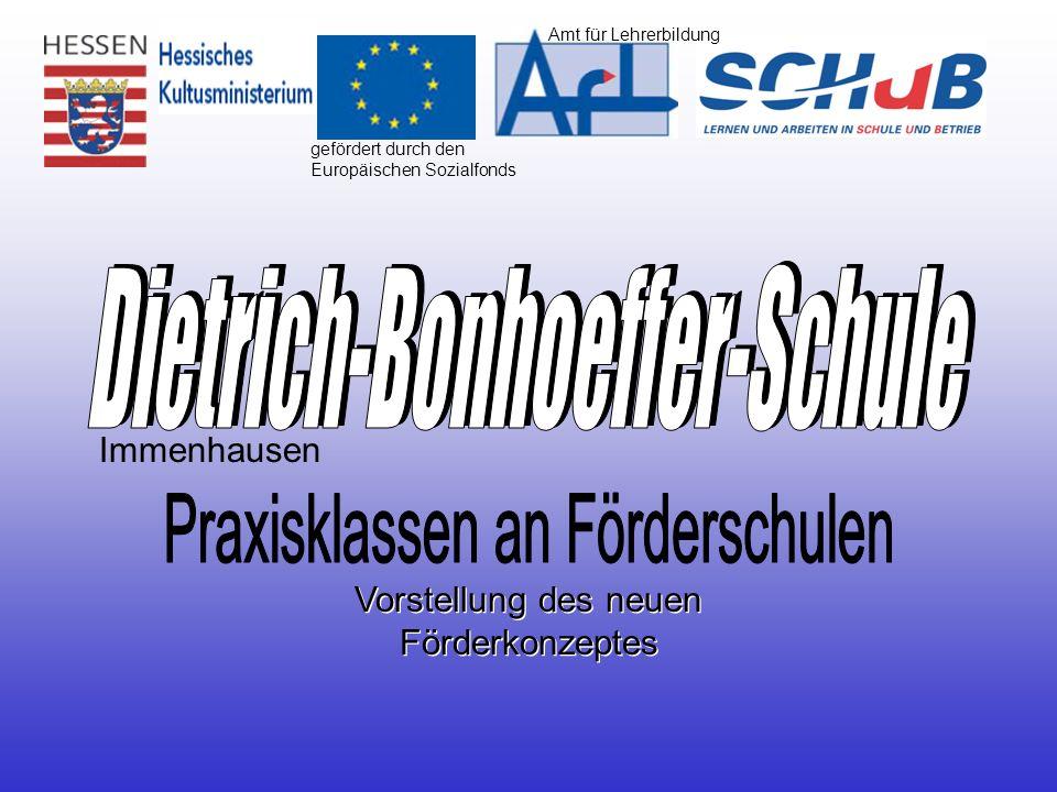 gefördert durch den Europäischen Sozialfonds Vorstellung des neuen Förderkonzeptes Immenhausen Amt für Lehrerbildung