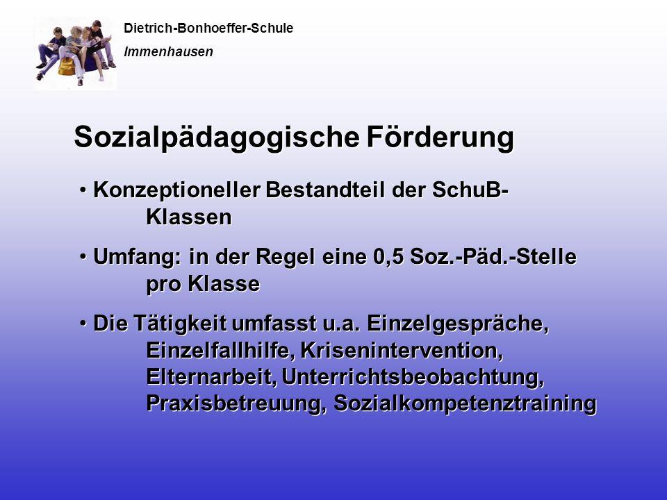 Sozialpädagogische Förderung Konzeptioneller Bestandteil der SchuB- Klassen Umfang: in der Regel eine 0,5 Soz.-Päd.-Stelle pro Klasse Die Tätigkeit umfasst u.a.