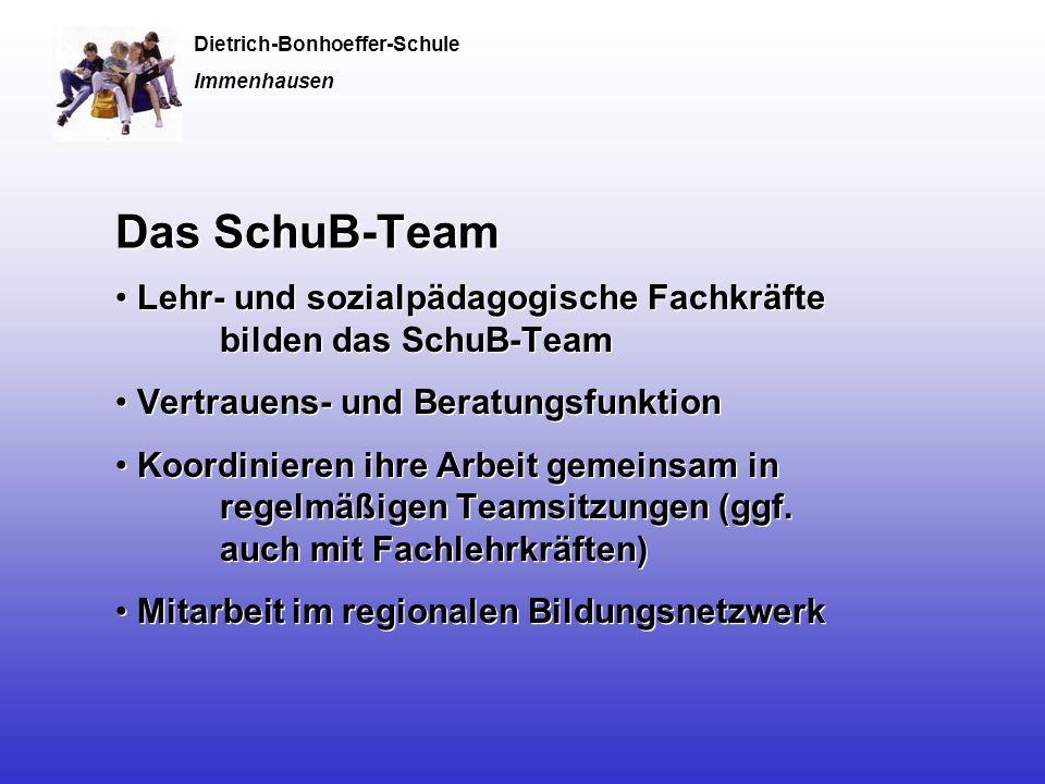 Das SchuB-Team Lehr- und sozialpädagogische Fachkräfte bilden das SchuB-Team Vertrauens- und Beratungsfunktion Koordinieren ihre Arbeit gemeinsam in regelmäßigen Teamsitzungen (ggf.
