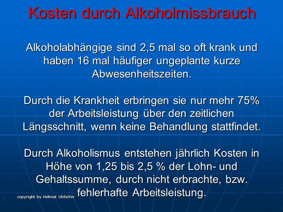 copyright by Helmut Ulzhöfer Kosten durch Alkoholmissbrauch Alkoholabhängige sind 2,5 mal so oft krank und haben 16 mal häufiger ungeplante kurze Abwe