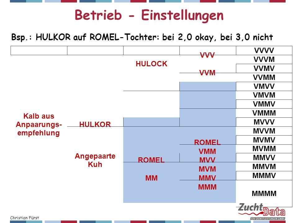 Christian Fürst Betrieb - Einstellungen Kalb aus Anpaarungs- empfehlung HULKOR HULOCK VVV VVVV VVVM VVM VVMV VVMM VMROMEL VMVV VMVM VMM VMMV VMMM Ange
