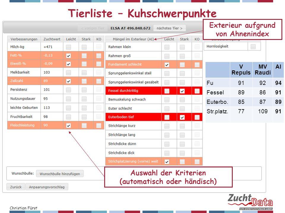 Christian Fürst Tierliste – Kuhschwerpunkte V Repuls MV Raudi AI Fu919294 Fessel898691 Euterbo.858789 Str.platz.7710991 Auswahl der Kriterien (automat