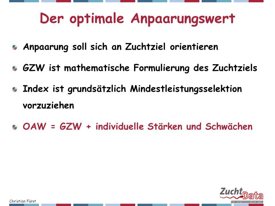 Christian Fürst Der optimale Anpaarungswert Anpaarung soll sich an Zuchtziel orientieren GZW ist mathematische Formulierung des Zuchtziels Index ist g