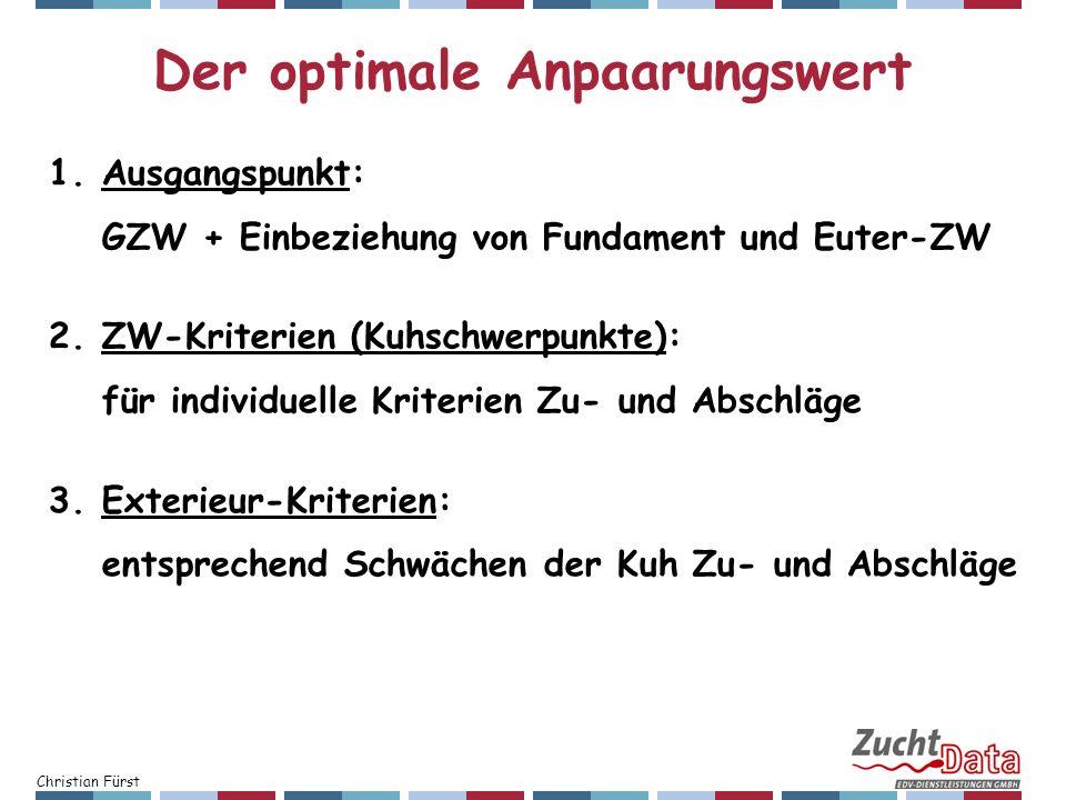 Christian Fürst 1.Ausgangspunkt: GZW + Einbeziehung von Fundament und Euter-ZW 2.ZW-Kriterien (Kuhschwerpunkte): für individuelle Kriterien Zu- und Ab