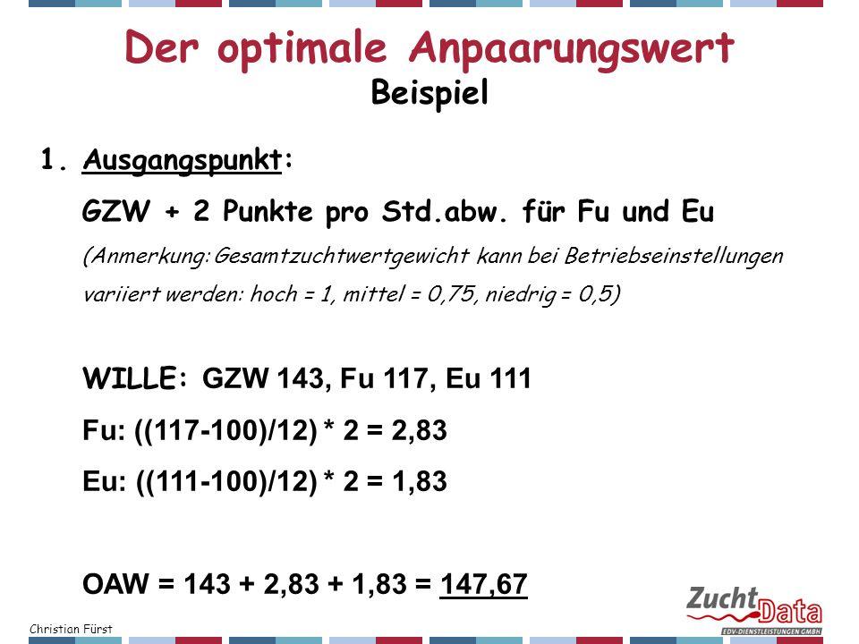 Christian Fürst 1.Ausgangspunkt: GZW + 2 Punkte pro Std.abw. für Fu und Eu (Anmerkung: Gesamtzuchtwertgewicht kann bei Betriebseinstellungen variiert