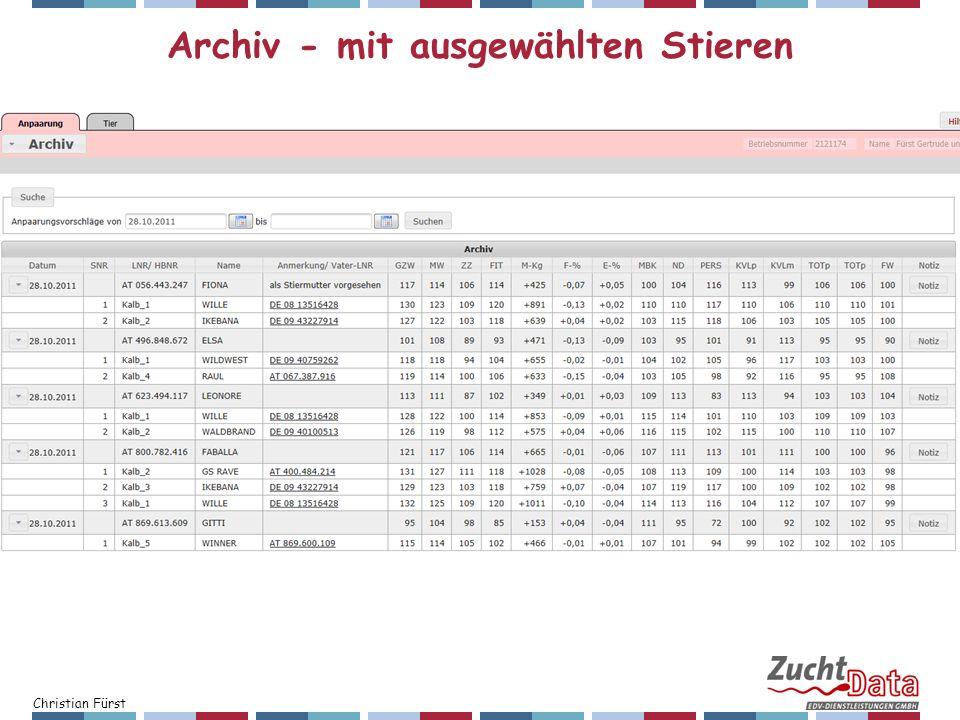 Christian Fürst Archiv - mit ausgewählten Stieren