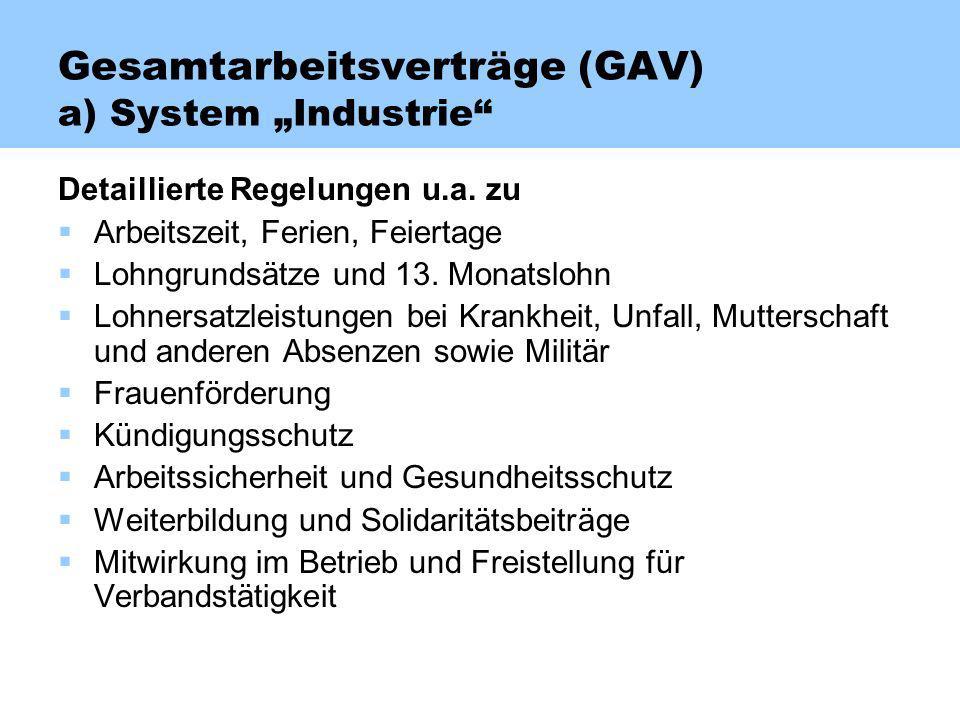 Gesamtarbeitsverträge (GAV) a) System Industrie Detaillierte Regelungen u.a. zu Arbeitszeit, Ferien, Feiertage Lohngrundsätze und 13. Monatslohn Lohne