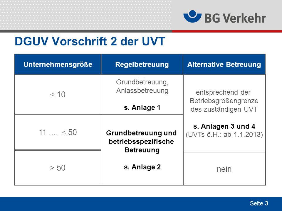 Seite 3 DGUV Vorschrift 2 der UVT UnternehmensgrößeRegelbetreuung 10 11.... 50 > 50 Grundbetreuung, Anlassbetreuung s. Anlage 1 Grundbetreuung und bet
