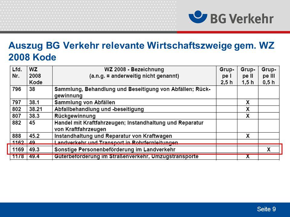 Seite 9 Auszug BG Verkehr relevante Wirtschaftszweige gem. WZ 2008 Kode