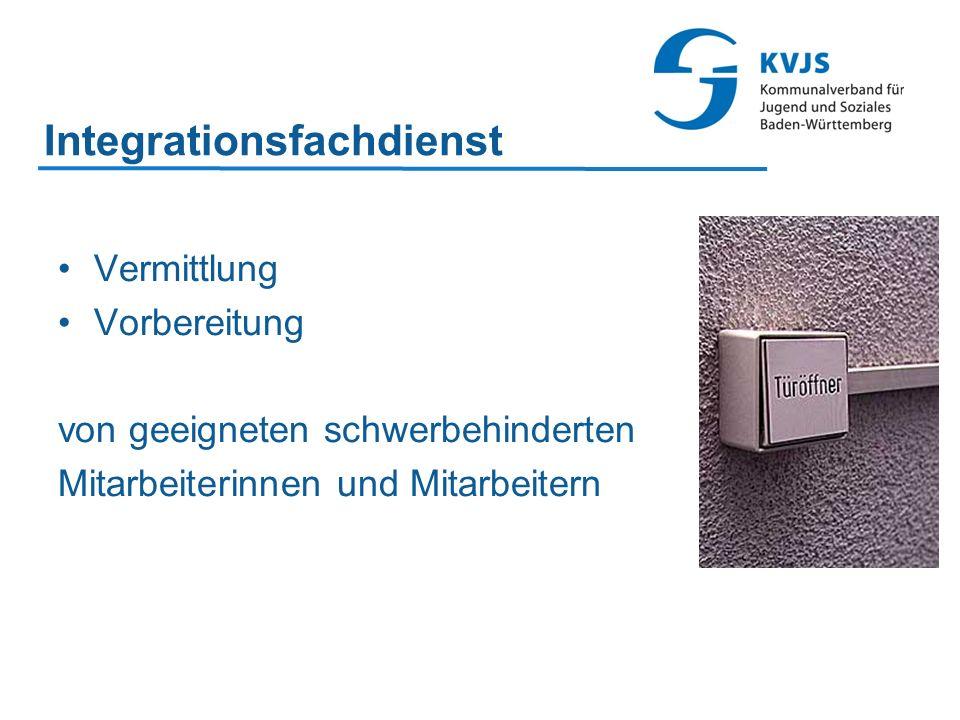 Integrationsfachdienst Vermittlung Vorbereitung von geeigneten schwerbehinderten Mitarbeiterinnen und Mitarbeitern