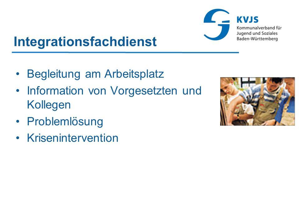 Integrationsfachdienst Begleitung am Arbeitsplatz Information von Vorgesetzten und Kollegen Problemlösung Krisenintervention