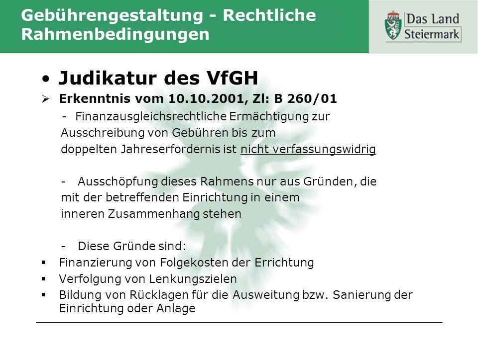 Gebührengestaltung - Rechtliche Rahmenbedingungen Judikatur des VfGH Erkenntnis vom 10.10.2001, Zl: B 260/01 - Finanzausgleichsrechtliche Ermächtigung