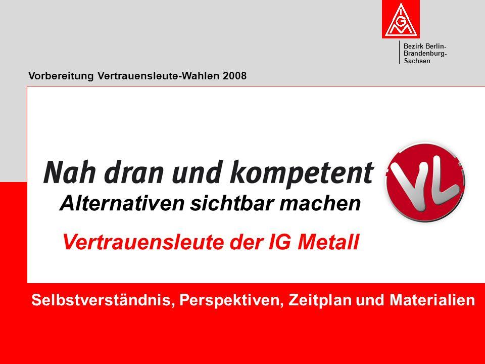 Vorstand Bezirk Berlin- Brandenburg- Sachsen Vorbereitung Vertrauensleute-Wahlen 2008 Selbstverständnis, Perspektiven, Zeitplan und Materialien Altern